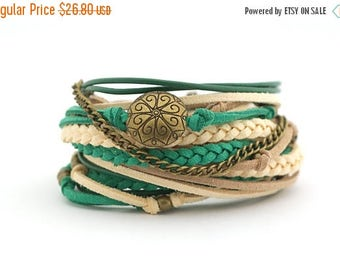 Mothers Day Color of the 2017 GREENERY Emerald Cream Beaige Boho Wrap Bracelet, Trending Women Bracelet, Gypsy Hippie Style, Mothers day gif