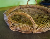Vintage Basket Serving Tray Handmade in Indonesia Large Woven Tray Basket Bridal Gift Outdoor Entertaining Kitchen Catering Service Tray