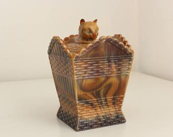 Cat On A Hamper Dish by Summit Art Glass circa 1970s—Vintage Reproduction of 19th Century Greentown Glass Dish