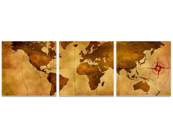 World Map Art 'Old World Map Triptych' by Alan Rodriguez - Rustic Wall Decor Historic Artwork on Metal or Acrylic