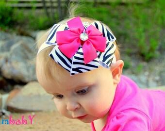 Baby bow headband, baby headband, pink bow headband, bow headband, zebra print bow headband, newborn Headband, bow headband, hair bows
