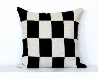 Checkerboard Linen Colorblock Pillow Cover -  Black Combo