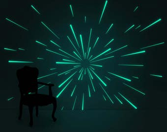 Luminous Warp wall-sticker ( glow-in-the-dark Nightlight deco-sticker )