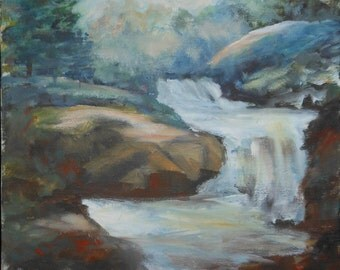 vintage oil painting of waterfall and rocks landscape signed