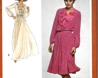Simplicity 9655 Misses Deep V-Neck Pullover Dress With Cascading Ruffle, Sewing Pattern, 12, 14 & 18-20, UNCUT