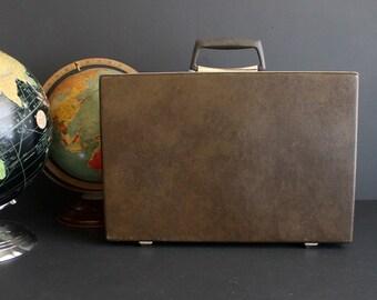 Vintage Briefcase by Samsonite Brown Slim Hard Shell Attache