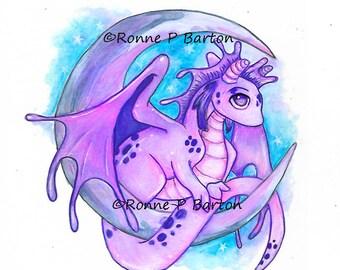 Drake Moon cute big eye fantasy baby dragon ORIGINAL colored pencil watercolor art by Ronne Barton