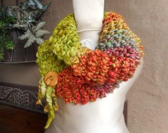 Hand Knit Cowl, Hand Knit Scarf, Hand Knit Infinity, Art Yarn Scarf, Art Yarn Cowl