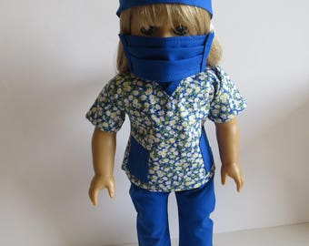 "Made To Fit Like American Girl Doll Clothes; 18"" Doll Four Piece Scrubs Outfit; Doll Scrubs; Doll Nurse Outfit; Doll Surgery Mask"
