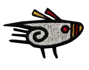 ID 0091 Tribal Fish Patch Hieroglyphic Abstract Embroidered Iron On Applique