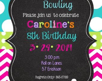 Bowling- party-Peace Love Party Birthday invitations with envelopes   chalk- chalkboard -any colors-