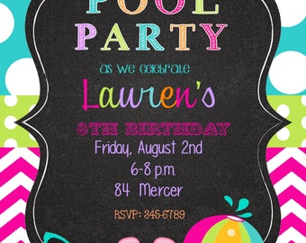 12 Pool Party invitations with envelopes-swim paty- swimming party-chalk- chalkboard- any colors