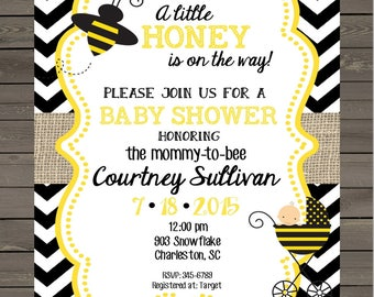 12  Bee Bumblebee Baby Shower invitations with envelopes -little honey-burlap ANY COLORS