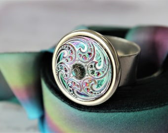 Art Glass Ring, Adjustable Silver Ring, Swirling Waves pattern, Statement Ring, Button Jewelry veryDonna