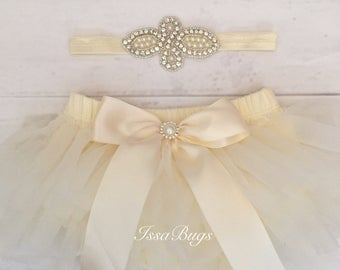 Baby girl clothes-Ivory tutu-tutu bloomers-diaper cover-baby girl coming home outfit-newborn girl outfit-baby shower-cake smash outfit-tutu