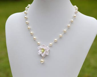 White Southern Magnolia Centered Necklace. Magnolia Bridal Necklace