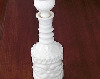 Vintage Milk Glass Liquor Bottle Decanter Fleur-de-Lis Design
