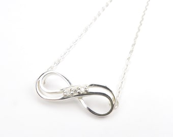 Sideways Infinity Neclace with CZ Diamonds Pave Set on a Sterling Silver Chain,