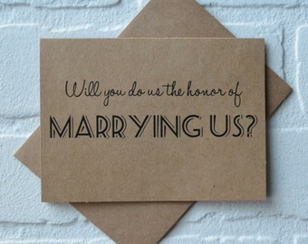 WILL you do us the honor of MARRYING us priest deacon card marry us card will you be our officiant kraft card wedding card officiant cards
