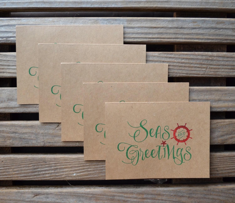 Seas and greetings holiday cards kraft christmas cards set of 5 note seas and greetings holiday cards kraft christmas cards set of 5 note cards christmas beach holiday kristyandbryce Gallery
