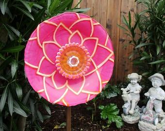 Yard Art - Garden Art - Glass Flower - Hand Painted in Hot Pink, Orange & Pink - Garden Sculpture - Garden Decor - Sun Catcher - Garden Gift