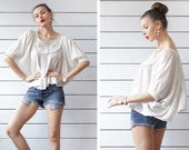 Vintage ivory white gypsy bohemian festival spirit butterfly wing sleeve full sweep blouse top