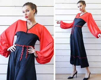70s vintage black red gypsy boho long full bishop sleeve belted ankle maxi dress XS-S