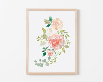 Peaches and Cream Bouq III Nursery Art. Nursery Wall Art. Nursery Prints. Nursery Decor. Girl Wall Art. Floral Wall Art. Instant Download.