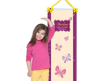 personalized baby nursery growth chart butterfly theme nursery wall art - girls plum and beige bedroom decor - G29