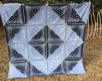 Bandana Quilt, Rag Quilt, Western Quilt, Country Quilt, Lap Quilt, Rustic Quilt, Tailgating Quilt, Picnic Quilt, Boho Quilt, Western Bedding