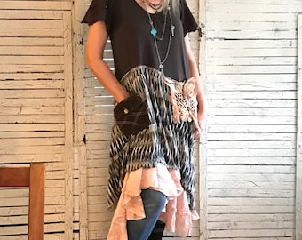 Praire Chic Dress L/XL, Upcycled Clothing for women, Hippie Boho, Junk Gypsy, Upcycled Dress, Western Inspired, Tiered Skirt Dress