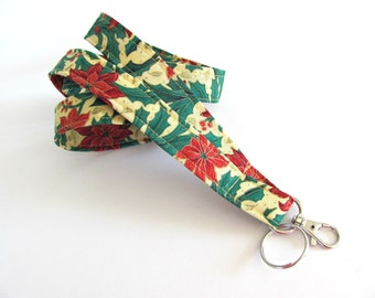Lanyard Badge Holder, ID badge lanyard, keys holder, Christmas fabric lanyard gift