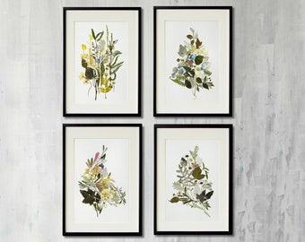Set of 4 original botanical art artworks collection Contemporary art Dried flowers decor Picture art Pressed flower frame Herbarium artwork