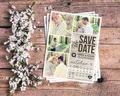 Save The Date Magnet, Card or Postcard . Modern Rustic Calendar Wood