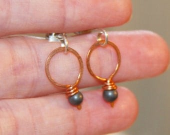 Small Hematite Earrings. Black Jewelry. Geometric Jewelry. Copper and Sterling Silver Earrings.