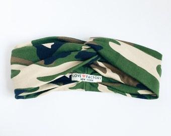 Boho twisted Turban headband Camouflage-Hipster hair Accessory-hair turban-ladies head wrap-army headband-military greenery- Love Factory NY