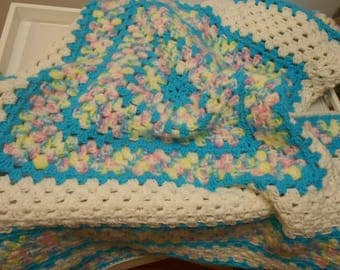 vintage baby afghan blanket granny square style