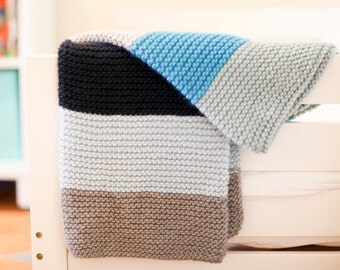 Hand Knitted 100% Merino Wool Blanket / Throw