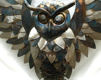 Metal sculpture decor, metal sculpture home, steampunk decor metal, Gear art steampunk, owl art gift, door metal decor, hallway decor,
