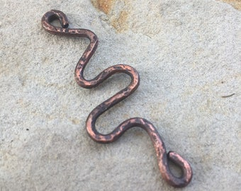 DIY Rustic Copper Snake Connector - Hammered and Oxidized Copper- Hand Forged - One Piece