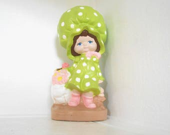 Holly Hobbie Statue Figurine Hand painted Ceramic Lime Green 70s Decor