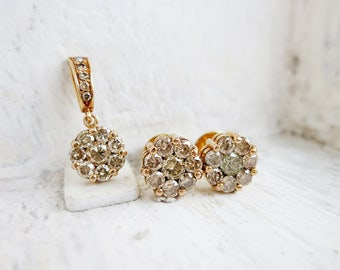 Vintage 10K Gold Rositas Diamonds Earrings and Pendant Set in Cluster Setting