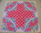 Vintage Red & Multicolored Floral Hanky with Latticework Trellis