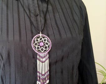 Beaded Dream Catcher - Pink Pendant Necklace - Authentic Native American -