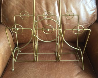 Vintage mid century modern magazine rack book holder geometric brass wood free shipping