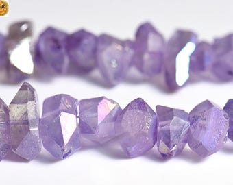 15 inch strand of Mystic Titanium Crystal Quartz faceted nugget bead,rough nugget bead,cut nugget bead,centre drilled bead 6-10x12-21mm