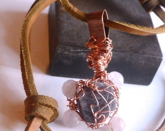 SALE 60% OFF Genuine Natural Red Pink Ruby Untreated Raw Rough Rose Quartz Crystal Pendant Necklace Burning Man Tribal Primitive Orgone Orgo