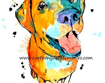 yellow Lab watercolor print