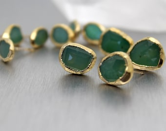 chrysoprase earrings, chrysoprase studs, gold earrings, gold studs, mint green, rose cut