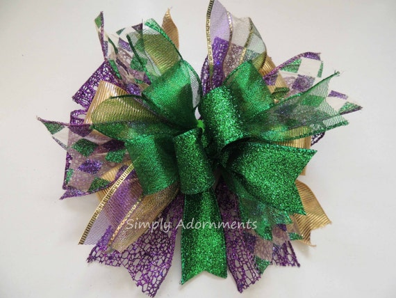 Whimsical Mardi Gras Wreath Bow Funky Mardi Gras Swag Bow Mardi Gras Tree Topper Bow Harlequin Mardi Gras Swag Bow Red Door Hanger Bow